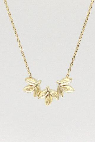 Tiny leaves necklace , everyday jewelry, delicate minimal jewelry