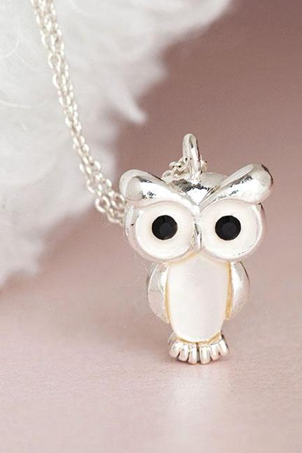 Silver Baby Owl Necklace, Nocturnal Bird Animal Charm Jewelry