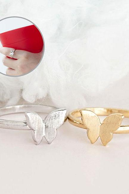 Dainty Butterfly Ring, Tiny Wings Adjustable Ring