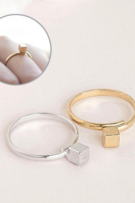 Tiny Minimal Cube Ring, Gold or Silver, Geometric Inspired, Adjustable Ring Band