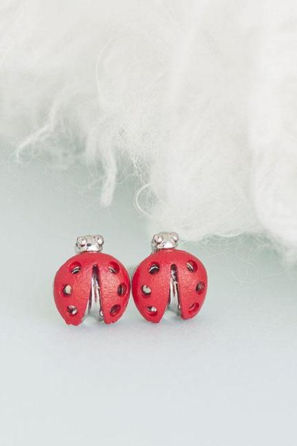 Red Beetle Earrings, Mini Ladybug Ladybird Whimsy Ear Posts