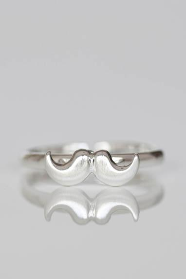 Silver Moustache Ring, Mustache Ring - adjustable ring