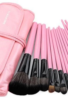 High Quality 15 PCS Professioal Makeup Brush Set With Black Leather Case - Pink