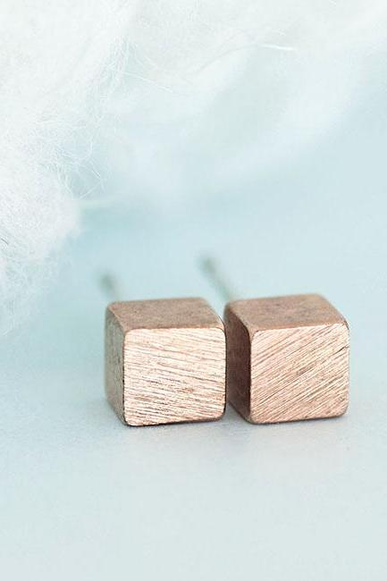 Pink Gold Square Cube Stud Earrings, Geometric Minimalist Inspired