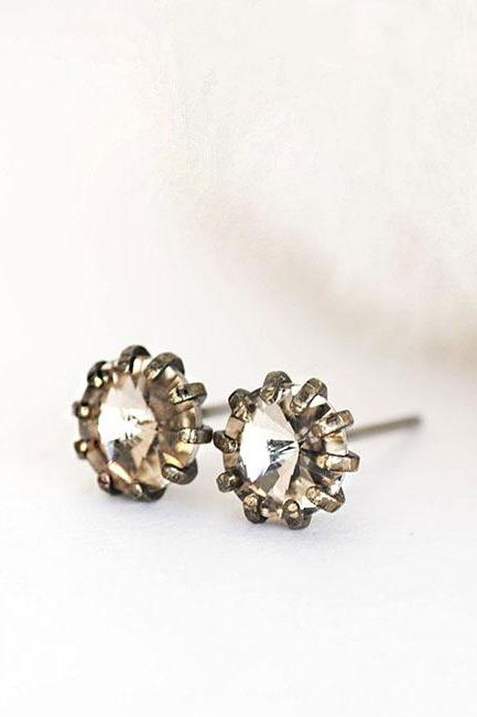 Faceted Dusty Grey Crystal Stud Earrings on Antiqued Bronze Prong, Sparkle