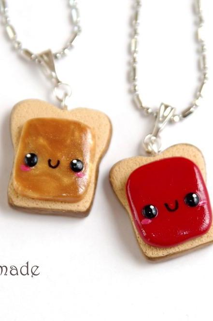 Kawaii Peanut Butter and Jelly Best Friends Necklaces