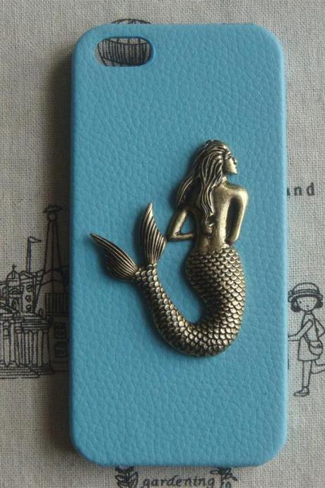Steampunk Mermaid Blue PU Leather Hard Case For Apple IPhone 5 Case Cover