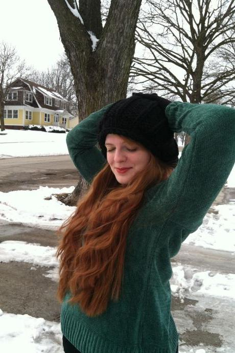 Lilith Fair Hand Knit Tam Black