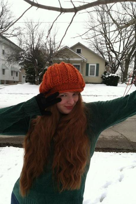 Lilith Fair Hand Knit Tam Autumn Orange
