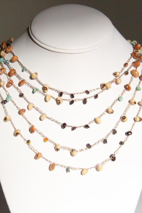 Turquiose Draped Statement Necklace