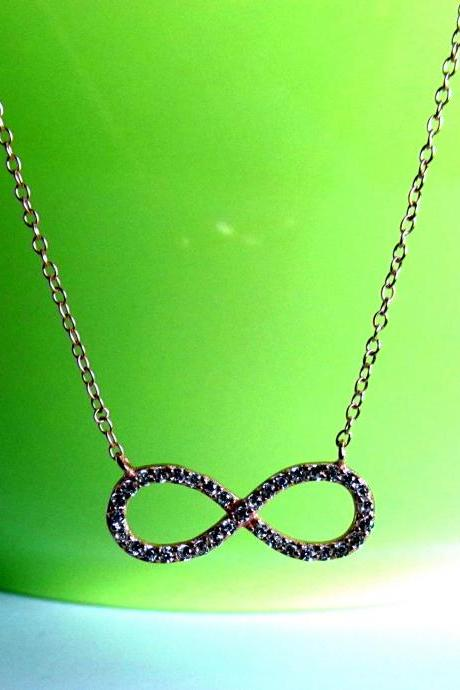 CZ Infinity Necklace-Rose Gold Over 925 Sterling Silver Necklace With CZ On 16+2 Cable Chain
