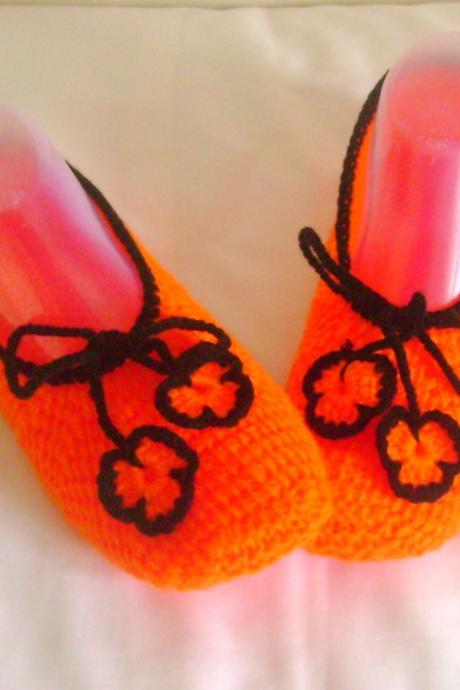 Orange black slippers crochet slippers woman slippers home shoes cosy slippers