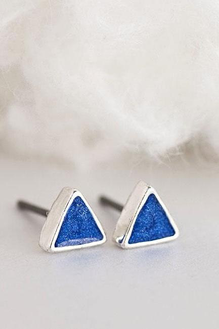 Tiny Triangle Blue Stud Earrings, Rich Royal Blue Ear Posts, Geometric Inspired