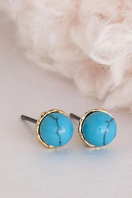 Turquoise Bead Stud Earrings, Mini Blue Ear Posts, Minimalist