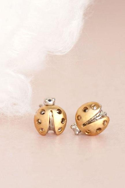 Gold Beetle Stud Earrings, Mini Ladybug Ladybird Ear Posts