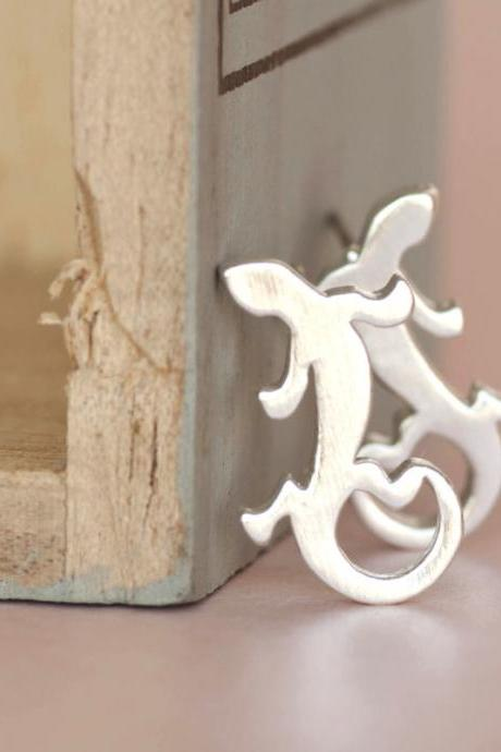Silver Gecko Stud Earrings, Reptile Lizard Ear Posts, Stylish