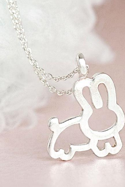 Silver Bunny Necklace, Chubby Rabbit Animal Charm, Whimsical