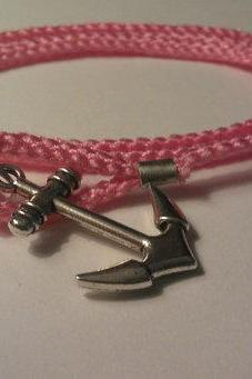 Anchor Bracelet - Pink - Handmade Nautical bracelet