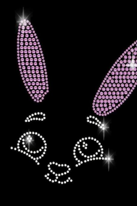 Easter Bunny Face Rhinestone Transfer Bling 34065