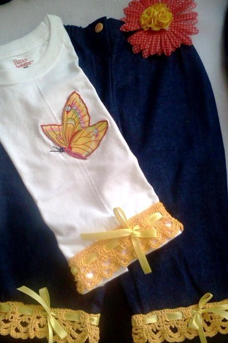 2 Piece Butterfly t-shirt and Ruffle Pants Outfit with Crochet Trims