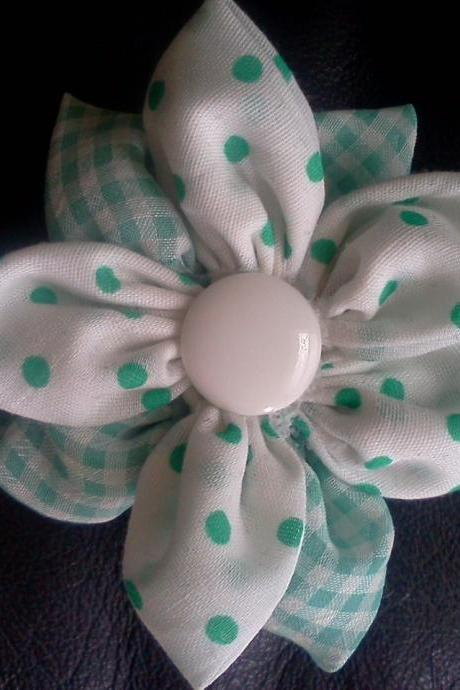 Dotted White and Green Flower Hair Clip