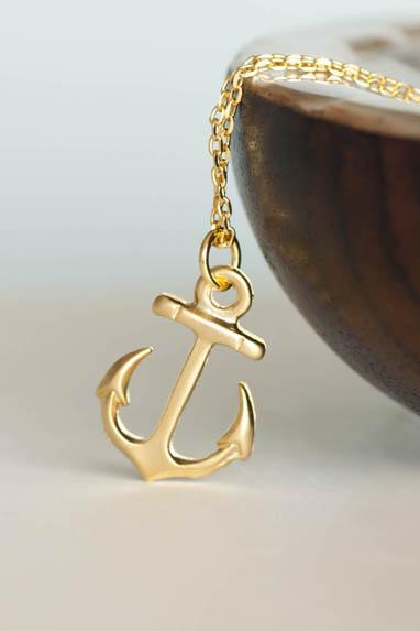Gold Anchor Necklace, Ahoy Nautical Charm Jewelry