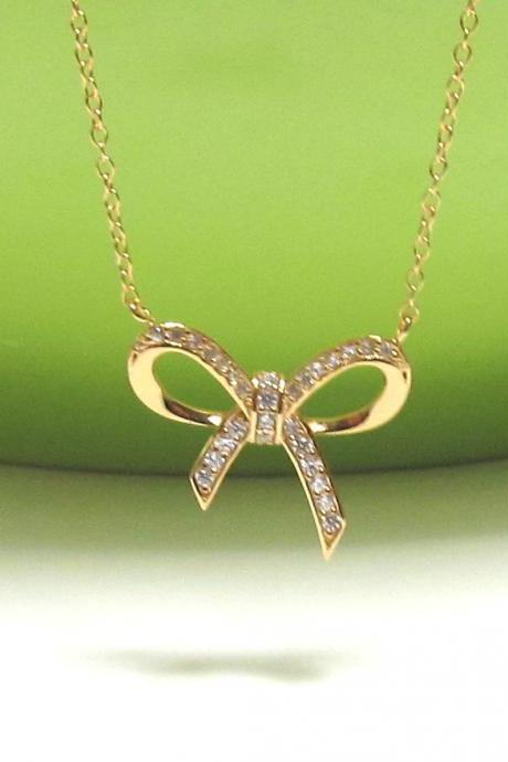 "ADORABLE INFINITY BOW Necklace In 14 Kt Gold Over Sterling Silver-16""+2"" Extender"