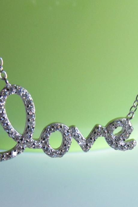 "Script Letter Love Necklace-Rhodium Over 925 Sterling Silver On 16""+2"" Cable Chain"