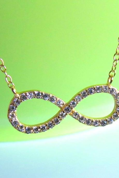 CZ Infinity Necklace-14 Kt Gold Over 925 Sterling Silver Necklace With CZ On 16+2 Cable Chain