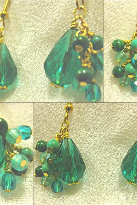 Cascade of Genuine Malachite and Amazonite and Teal Crystal Teardrop Gold Earrings