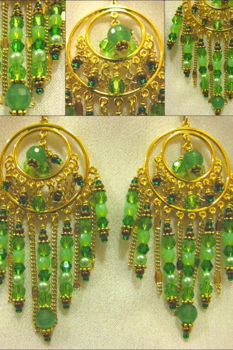 Genuine Jade and Leafy Green Crystal Antique Gold Bollywood Style Chandelier Earrings
