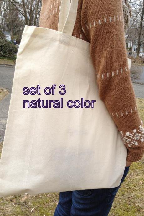 Set of 3 cotton canvas natural color tote, FREE custom gussets, wedding tote, bridal tote, DIY tote bag, blank tote, plain tote bag