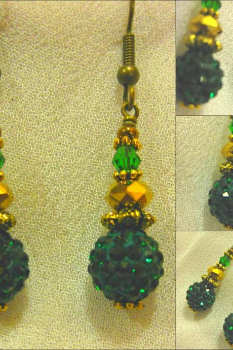 Sparkling Emerald Green Pave Bead, Amber Crystal and Antique Gold Earrings
