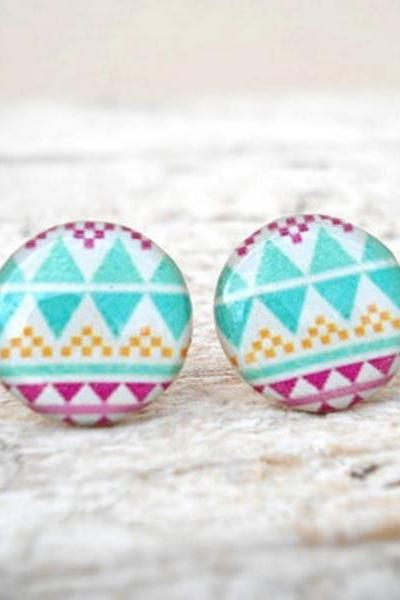 Aztec Geometric Stud Earrings, in White Turquoise Violet, Pure Color Jewelry