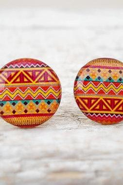 Tribal Earring Studs, Orange Red Earrings, Small Studs Posts, Aztec Studs