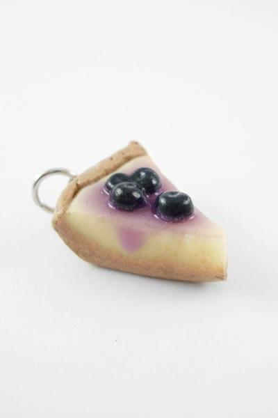 Miniature Blueberry Cheesecake Charm with Ball Chain Strap