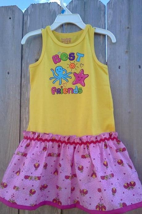 Upcycled Girl's Yellow Tank Top, Lady Bug Dress, Size 3T