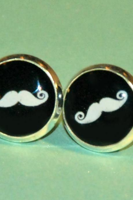 Moustache Resin Post Silver Earrings