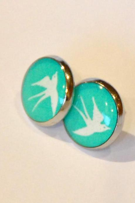 White Swallow on Turquoise Resin Post Silver Earrings