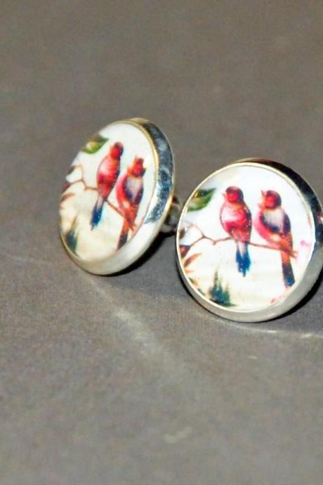 Pair of Sweet Rasberry Birds Resin Post Silver Earrings