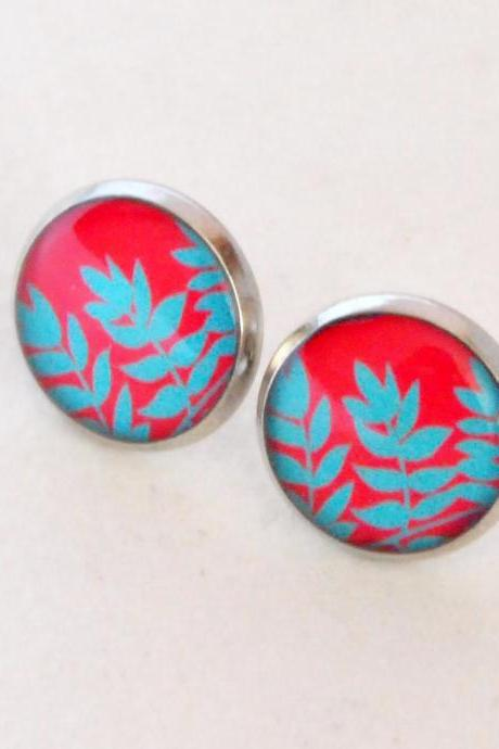 Red and Turquoise Leaves Resin Post Silver Earrings