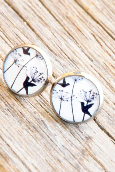 Hummingbirds Post Silver Resin Earrings