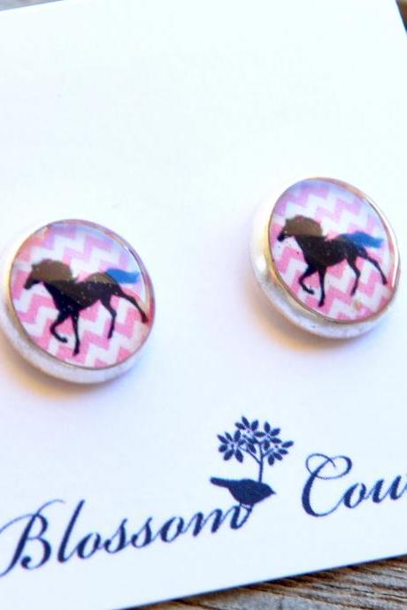 Black Horse on Pink Chevron Post Silver Resin Earrings