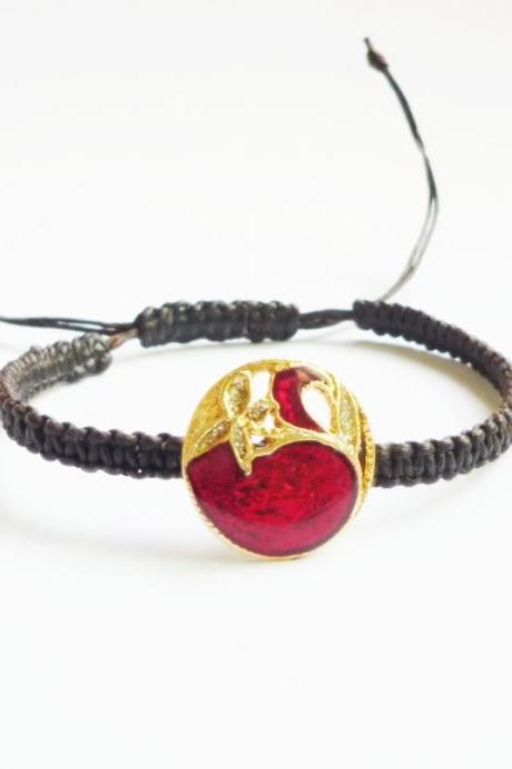 Vintage Gold Flower on red Button in Black Adjustable Friendship Bracelet - Gift under 15 - Gift for Her