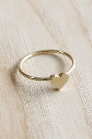 Tiny heart ring 7 size in gold , everyday jewelry, delicate minimal jewelry