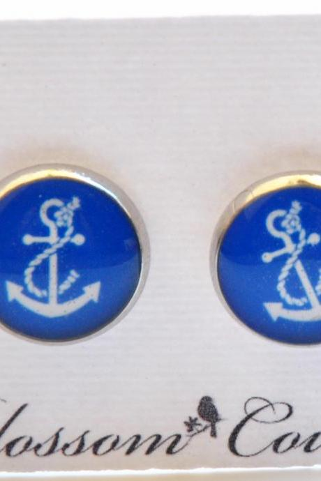 Blue Anchor Resin Post Silver Earrings