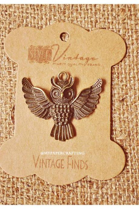 Antique Owl Brass Charm Metal