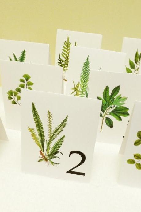 Woodland Wedding Table Cards, table Tents of Vintage Botanicals, Leaf Table Numbers