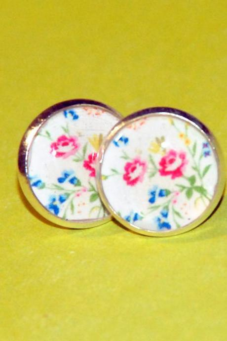 Wild Flowers Resin Post Silver Earrings