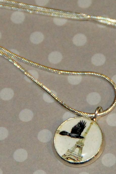 Crow in Paris Pendant Necklace
